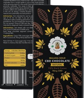 Bean to Bar CBD Infused Natural Dark Chocolate